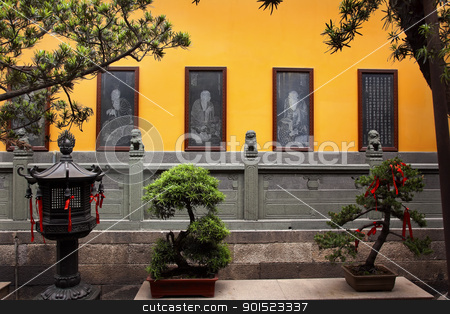 Buddhist Stone Etchings Lanterns Red Rbbon Decorations Statue Ja stock photo, Buddhist Etchings Red Ribbons New Year Sayingts Chinese New Decorations Lanterns Jade Buddha Temple Jufo Si Shanghai China Most famous buddhist temple in Shanghai by William Perry