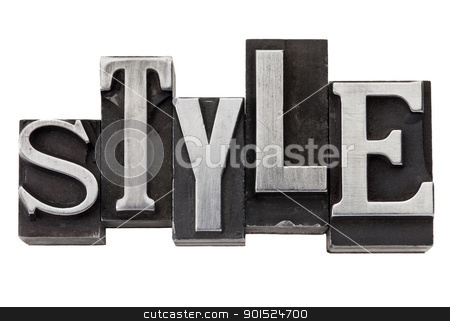 style word in metal type stock photo, style - isolated word in mixed vintage metal printing blocks by Marek Uliasz