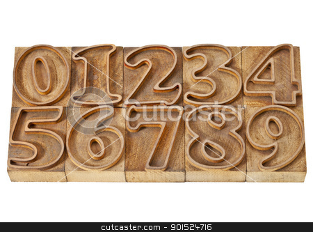 outlined numbers in wood type stock photo, ten numbers from zero to nine in isolated vintage wood letterpress outlined printing blocks by Marek Uliasz