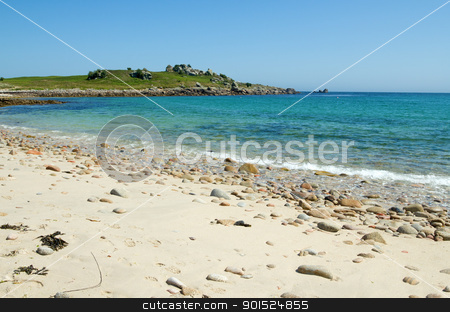 Bar beach between St. Agnes and Gugh, Isles of Scilly. stock photo, Bar beach between St. Agnes and Gugh, Isles of Scilly.  by Stephen Rees
