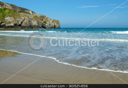 Trevaunance Cove beach near St. Agnes, Cornwall UK. stock photo, Trevaunance Cove beach near St. Agnes, Cornwall UK. by Stephen Rees
