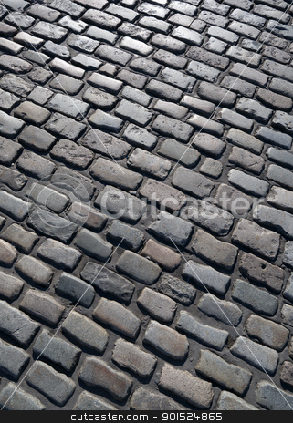 Old English cobblestone road in Plymouth close up. stock photo, Old English cobblestone road in Plymouth close up. by Stephen Rees