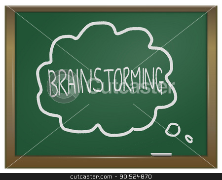 Brainstorming concept. stock photo, Illustration depicting a green chalk board with the word 'brainstorming' arranged around a thought bubble written  in white chalk. by Samantha Craddock
