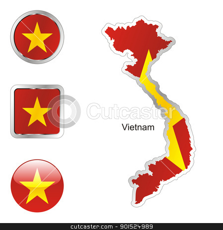 vietnam in map and internet buttons shape stock vector clipart, fully editable flag of vietnam in map and internet buttons shape by pilgrim.artworks