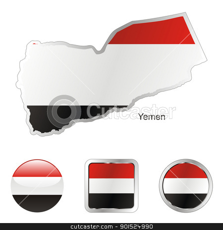yemen in map and internet buttons shape stock vector clipart, fully editable flag of yemen in map and internet buttons shape by pilgrim.artworks