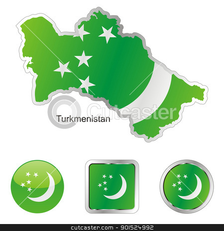 turkmenistan in map and internet buttons shape stock vector clipart, fully editable flag of turkmenistan in map and internet buttons shape by pilgrim.artworks