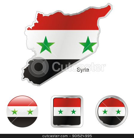 syria in map and internet buttons shape stock vector clipart, fully editable flag of syria in map and internet buttons shape by pilgrim.artworks