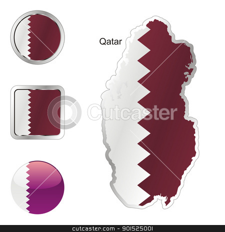 qatar in map and internet buttons shape stock vector clipart, fully editable flag of qatar in map and internet buttons shape by pilgrim.artworks