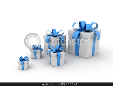 Blue gift boxes  stock photo, Blue gift boxes on white background  by Jesper Klausen