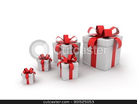 Red gift boxes  stock photo, Five gift boxes  by Jesper Klausen
