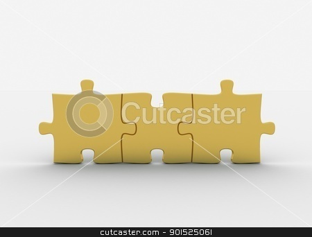 gold puzzle pieces stock photo, gold puzzle pieces by Jesper Klausen