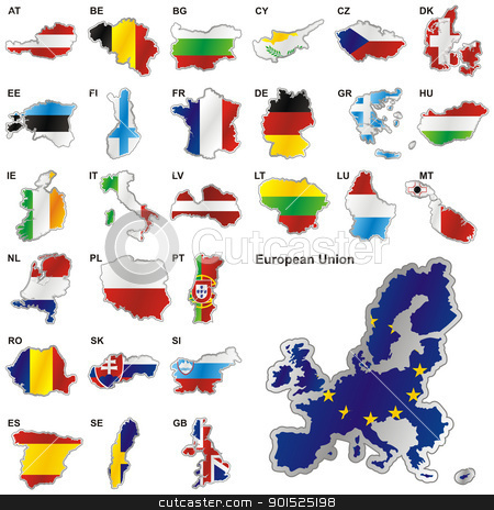 Member States of the European Union in map shape stock vector clipart, fully editable vector illustration of all twenty-seven Member States of the European Union in map shape by pilgrim.artworks