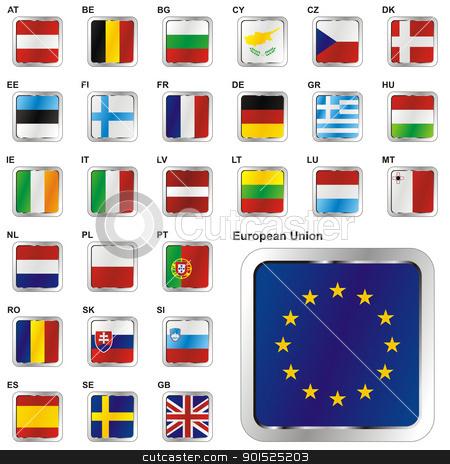 Member States of the European Union in web button shape stock vector clipart, fully editable vector illustration of all twentyseven Member States of the European Union in web button shape by pilgrim.artworks