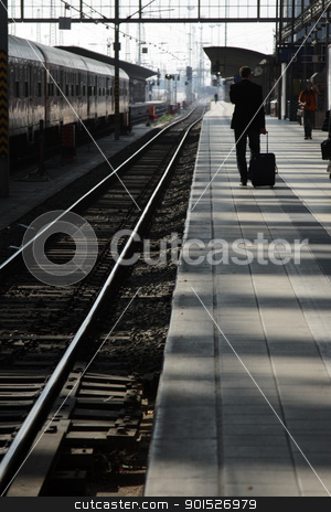 Railway Platform stock photo, Traveler on a Railway platform. by DirkR