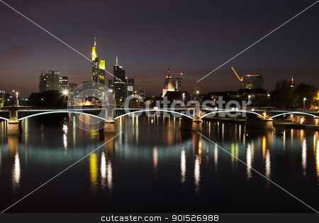 Frankfurt at night stock photo, Skyline of Frankfurt am Main at night. by DirkR
