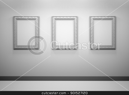 Gallery Interior with empty frames on wall stock photo, Gallery Interior with empty frames on a wall by Christophe Rolland