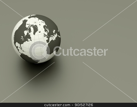 3d earth stock photo, 3d glossy earth on grey ground by Christophe Rolland