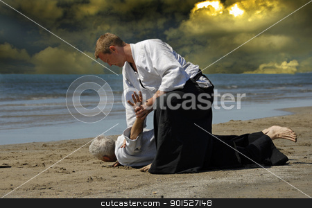 Aikido stock photo, Two adults are training in Aikido on the beach by Bonzami Emmanuelle