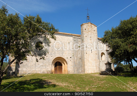 church Saint-Sylvestre des Brousses ,puechabon stock photo, church Saint-Sylvestre des Brousses near the village Puechabon in Herault, France by Bonzami Emmanuelle