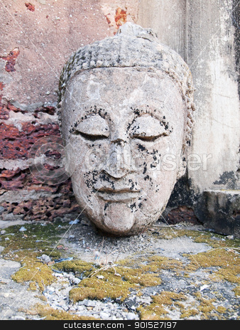 Buddha head is broken stock photo, Buddha head is broken by Paisan  Changhirun