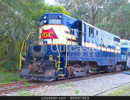 Engine 1835 HDR stock photo, HDR photo image of a locomotive engine #1835 in th morning light by P.J. Lalli