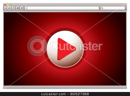 Internet video red browser stock vector clipart, red background to internet video web browser with play button by Michael Travers