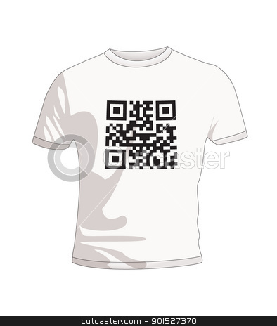 T Shirt qr code stock vector clipart, Business qr code concept with white T Shirt by Michael Travers