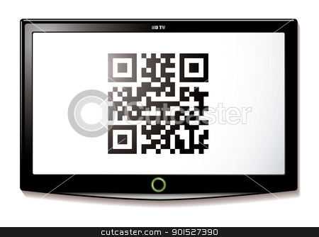 LCD TV QR code scan stock vector clipart, Modern LCD TV with Qr code to scan for identification by Michael Travers
