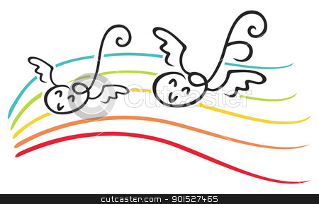 Joy of music stock vector clipart, Happy notes with wings on music lines by Oxygen64