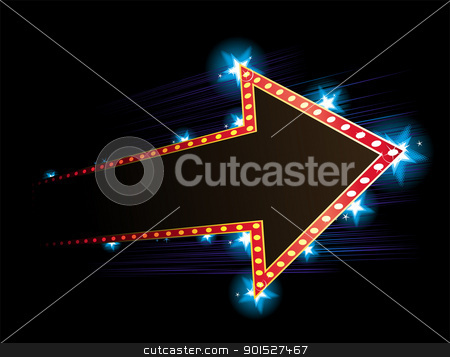 Poster with arrow stock vector clipart, Arrow shape neon with star in background by Oxygen64