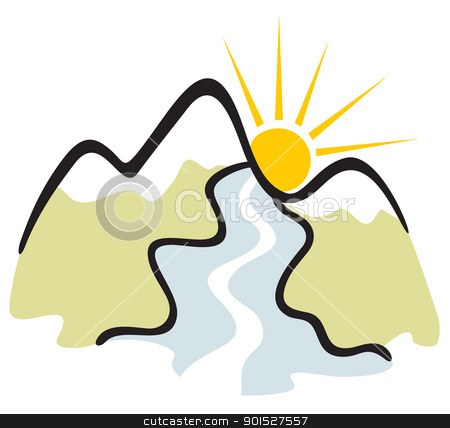 Mountain symbol stock vector clipart, Symbol of mountains with river and sun by Oxygen64