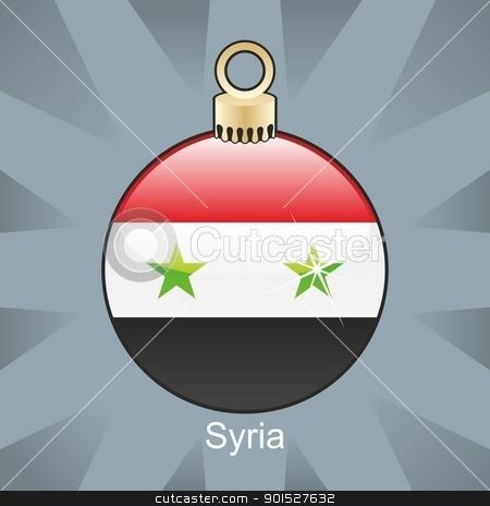 syria flag in christmas bulb shape stock vector clipart, fully editable vector illustration of isolated syria flag in christmas bulb shape by pilgrim.artworks