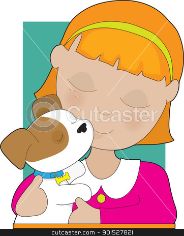 Little Girl and Puppy stock vector clipart, A little girl is smiling as she holds her little puppy close. by Maria Bell