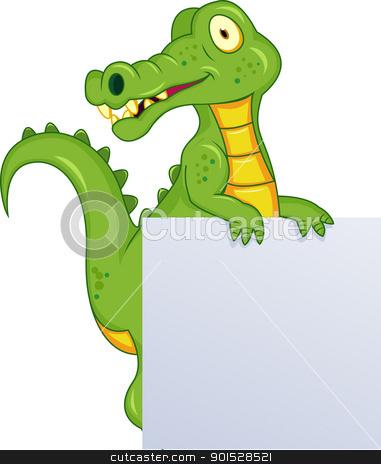 Crocodile With Blank Sign stock vector clipart, Vector Illustration Of Crocodile With Blank Sign by Surya Zaidan