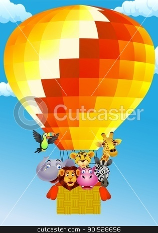 Animal Cartoon On Ballon stock vector clipart, Vector Illustration Of Animal Cartoon On Balloon by Surya Zaidan