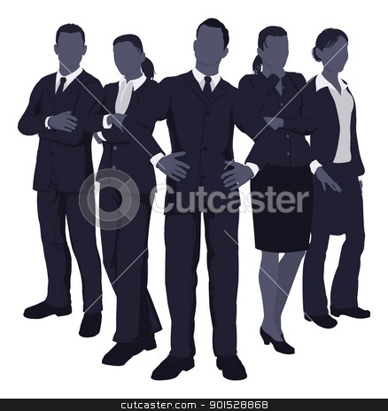 Young dynamic business team stock vector clipart, Illustration of a young dynamic smart business team by Christos Georghiou
