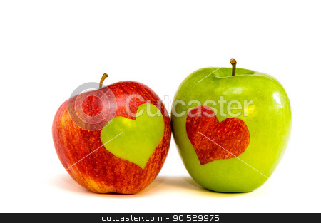 two lovers apples stock photo, red and green lovers apples by Malgin