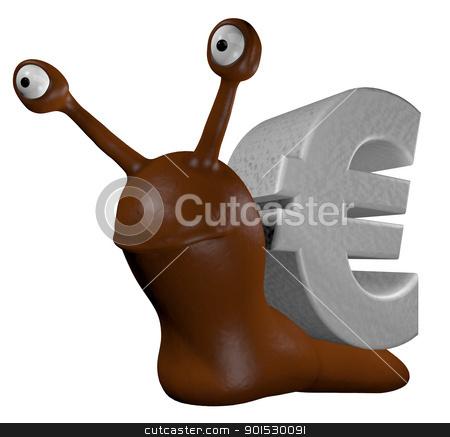 euro snail stock photo, funny slug with euro symbol - 3d cartoon illustration by J?
