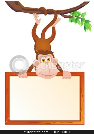 Monkey and blank sign  stock vector clipart, Vector Illustration Of Monkey and blank sign  by Surya Zaidan