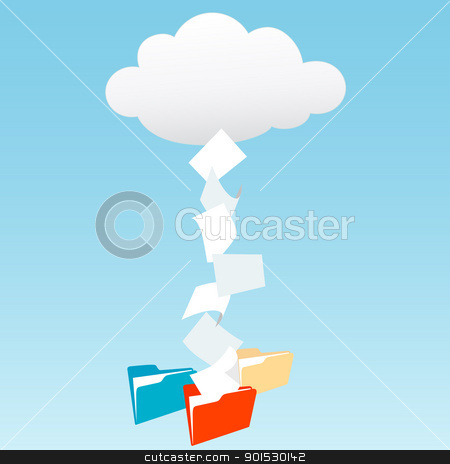 Data from cloud computing into file folders stock vector clipart, Data files from cloud computing technology streaming into file folders by Michael Brown