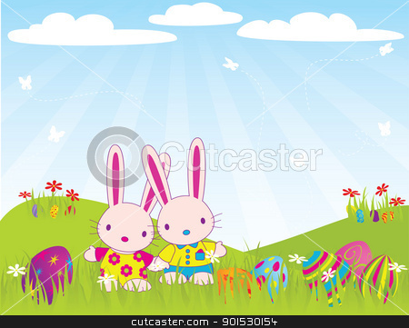 easter_bunnies_morning stock vector clipart, Easter Morning. CMYK with global colors file. by wingedcats