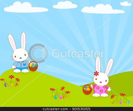 easter_bunnies_egg stock vector clipart, Easter bunnies with their baskets and eggs. Global colors. by wingedcats