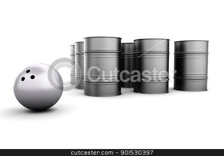 Petroleum Bowling stock photo, Bowling with oil Barrels. 3D rendered illustration. Isolated on white. by Michael Osterrieder