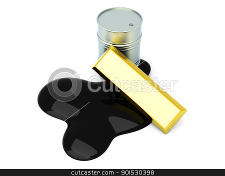 Commodities stock photo, Gold and Oil, two commodities on the stock market. 3D rendered Illustration. Isolated on white. by Michael Osterrieder