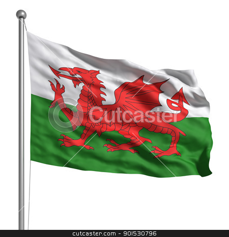 Flag of Wales stock photo, Wales flag. Rendered with fabric texture (visible at 100%). Clipping path included. by ayzek