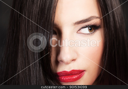 pretty woman's face stock photo, Close up of a pretty woman's face by iMarin