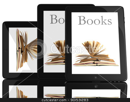 Group of Tablet PC Computer and books stock photo, Group of Books and teblet computer 3D model isolated on white, digital library concept by Adam Radosavljevic