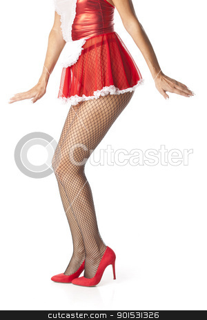 Sexy maid legs in fishnet stocking stock photo, Sexy maid woman legs in fishnet stocking posing by Adam Radosavljevic