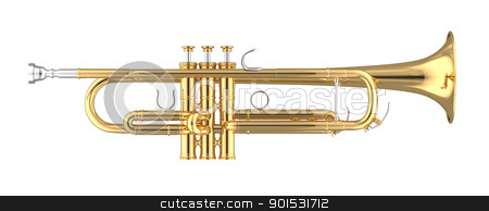 Trumpet stock photo, 3D rendered trumpet on white background. by ayzek