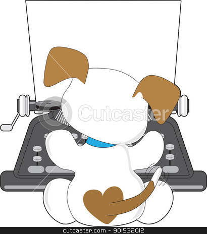 Cute Puppy Typewriter stock vector clipart, A small puppy with a wagging tail, is busy typing away on an old style typewriter. by Maria Bell